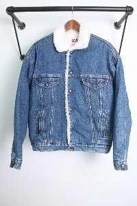 "LEVI'S 70609 (L) made in USA ""80s big E deim boa jacket"""
